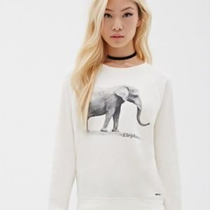 ASPCA x F21 Elephant Off-White Sweatshirt S
